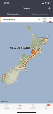 tremblements de terre seisme nouvelle zelande application geonet